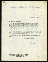 Letter from Charles D. Walcott to Franklin D. Roosevelt, June 4, 1919