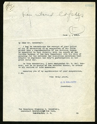 Letter from Charles D. Walcott to Franklin D. Roosevelt, June 4, 1919