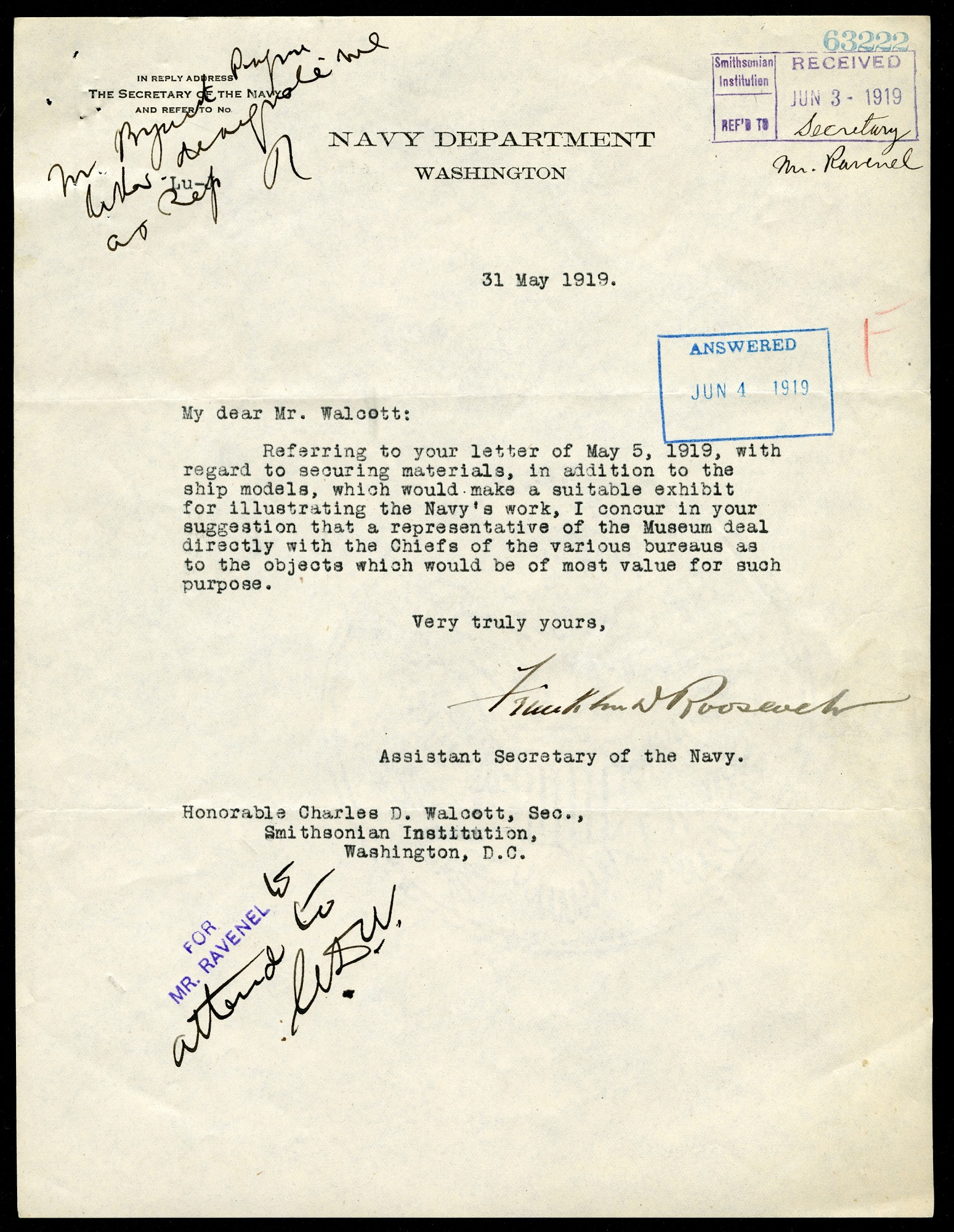 Letter from Franklin D. Roosevelt to Charles D. Walcott, May 31, 1919