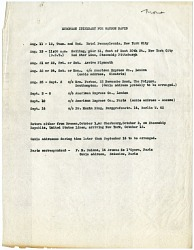 Itinerary for Watson Davis's European Trip