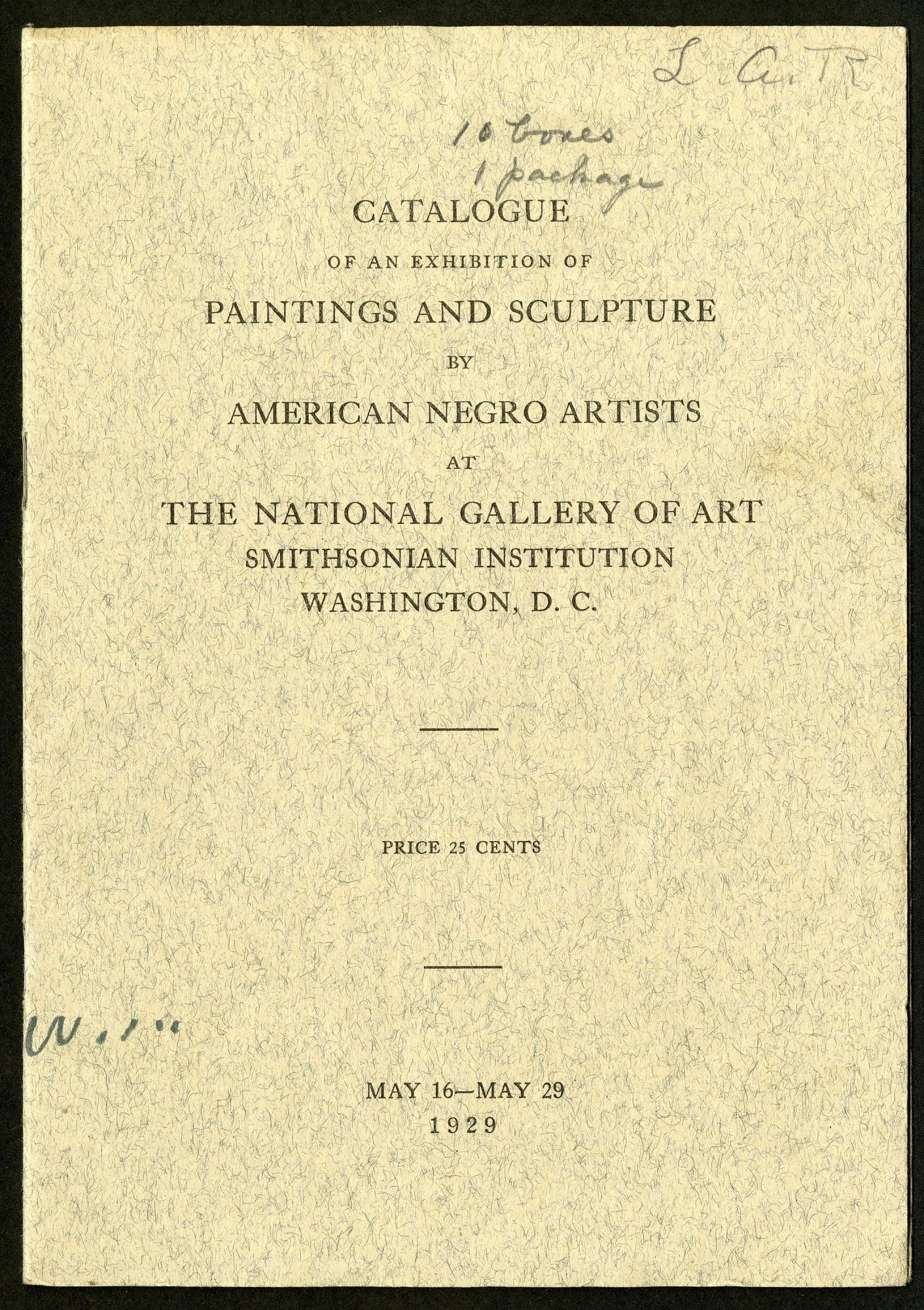 Catalogue of an Exhibition of Paintings and Sculpture by American Negro Artists at the National Gallery of Art