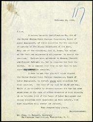 Letter from Frank Baker, NZP Director, to Secretary Charles D. Walcott, 2/19/1908