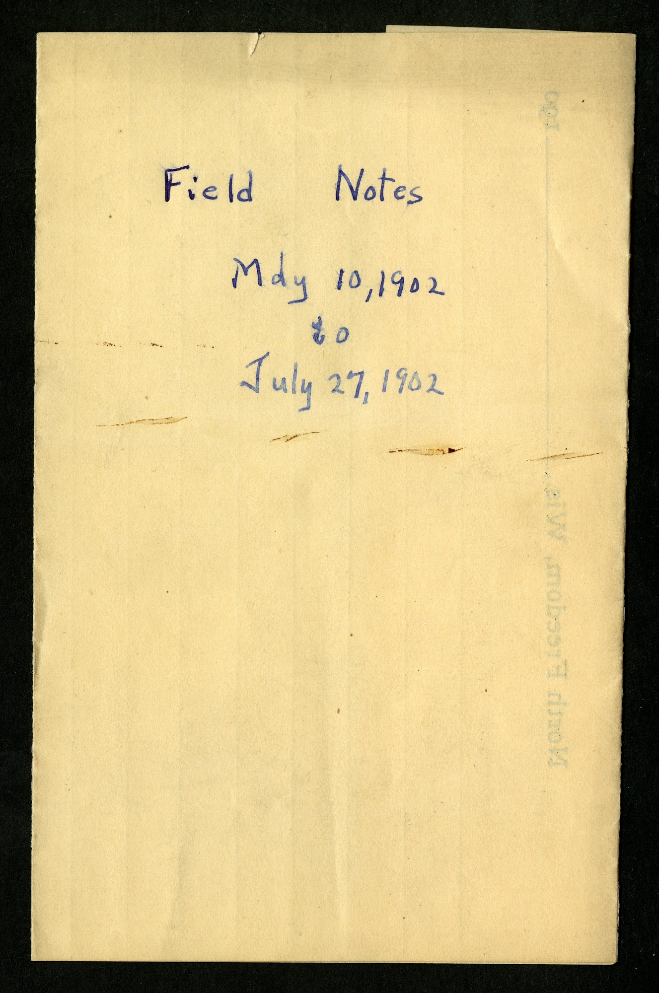 Field notes, May 1902 - December 1904 : mostly bird observations made in and around North Freedom, Wisconsin, notes for November 27 - December 1, 1904 were taken at Independence, Kansas