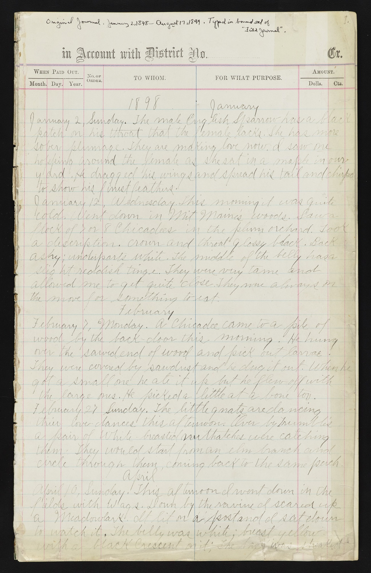 Field notes, January 1898 - April 1902 : bird observations made in and around North Freedom, Wisconsin, notes of June 1901 were kept on a trip to Minnesota