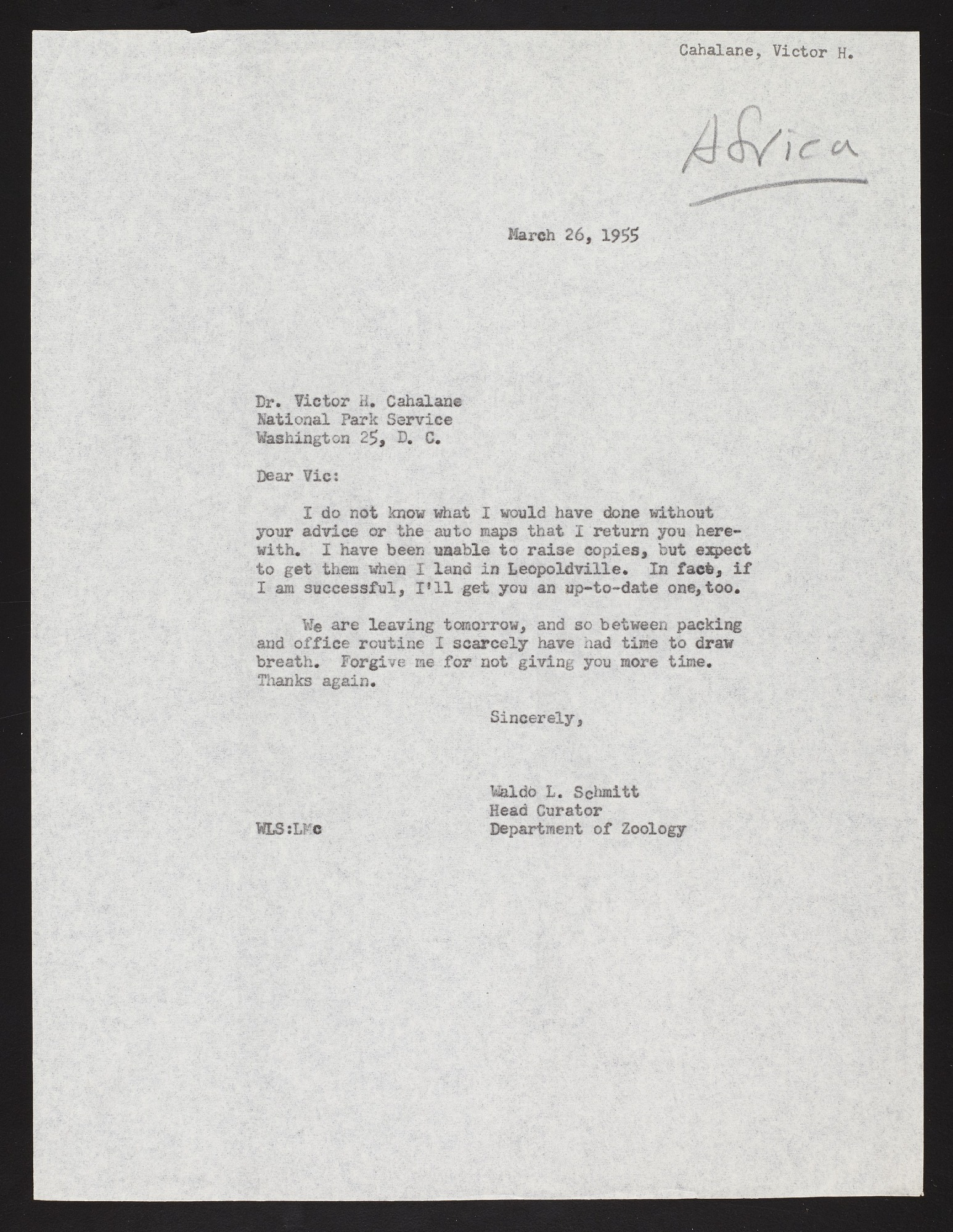 Smithsonian-Bredin Belgian Congo Expedition, 1955 : correspondence C