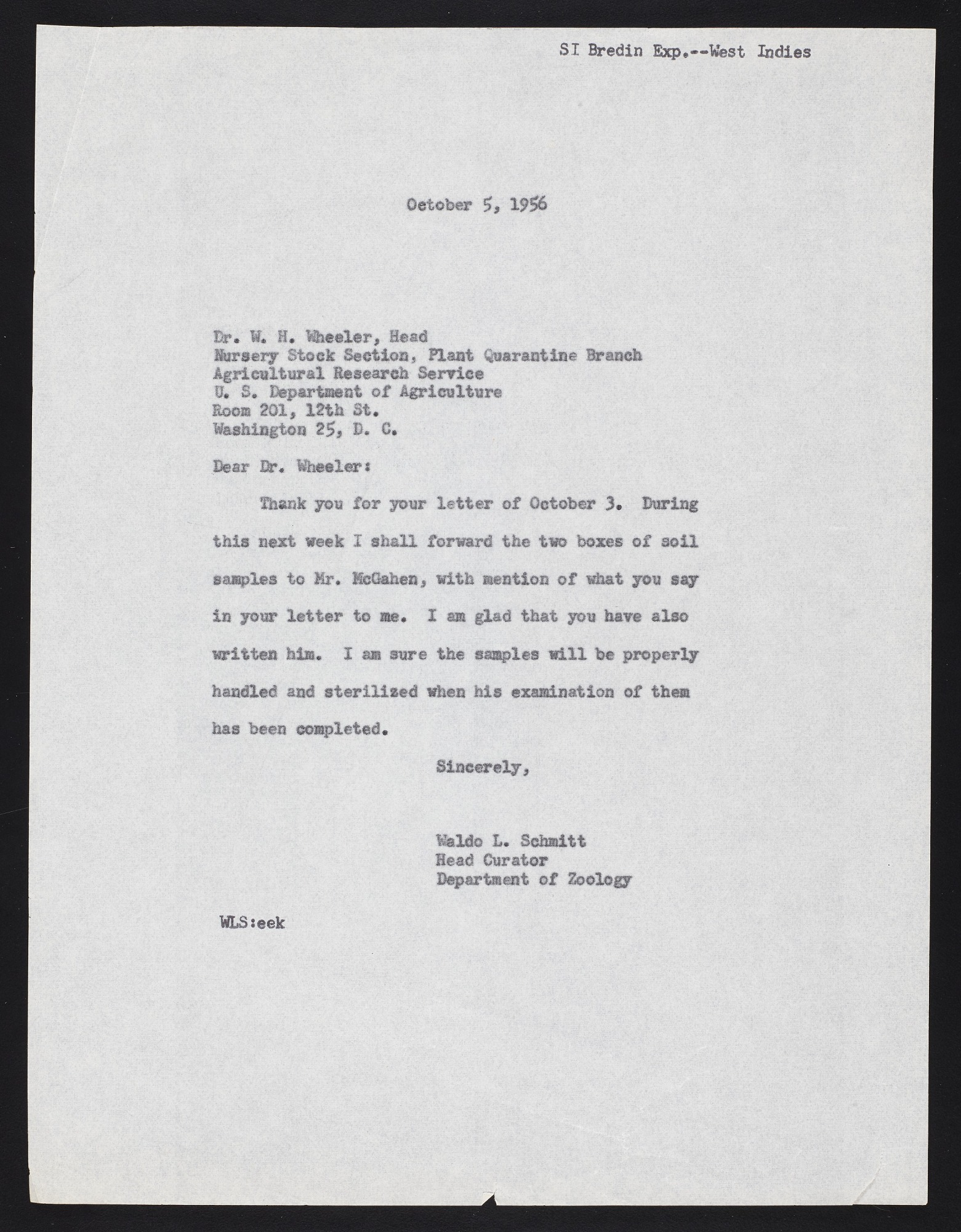Smithsonian-Bredin Caribbean Expedition, 1956 : correspondence