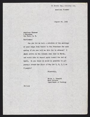 Smithsonian-Bredin Society Islands Expedition, 1957: correspondence. Includes correspondence of J. Bruce Bredin, Leonard Carmichael, James McConnaughey, and John E. Randall