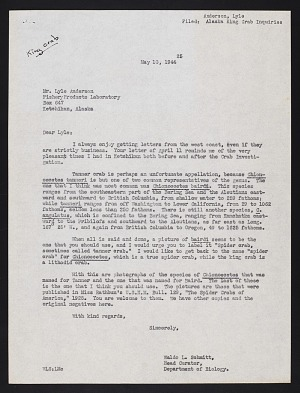 Alaska King Crab Investigation, 1940 : correspondence A-M