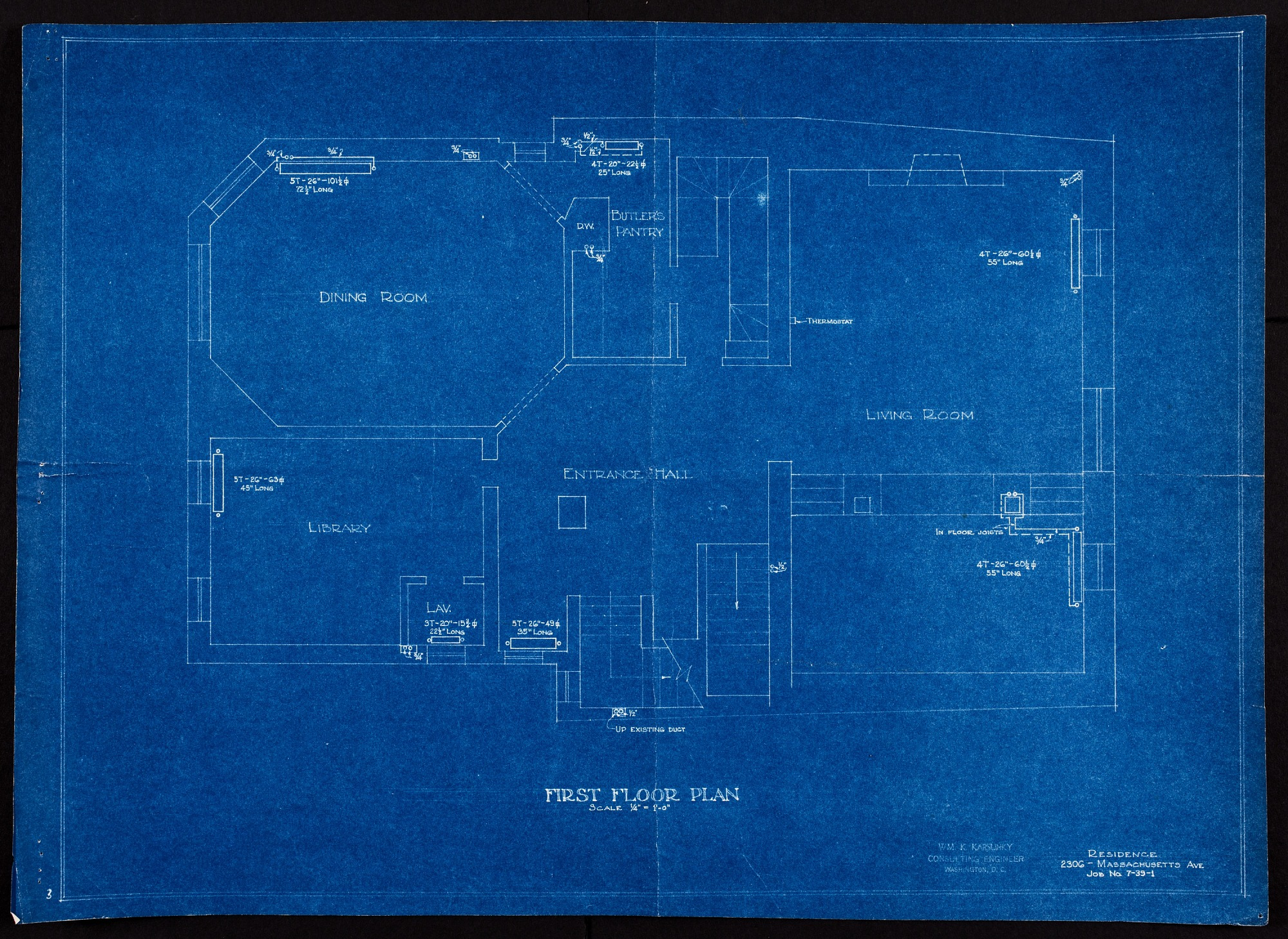 Blueprint drawing of the First Floor of Alice Pike Barney's Studio House