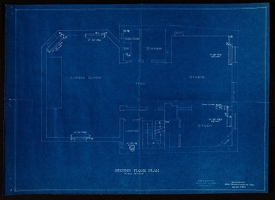 Blueprint drawing of the Second Floor of Alice Pike Barney's Studio House