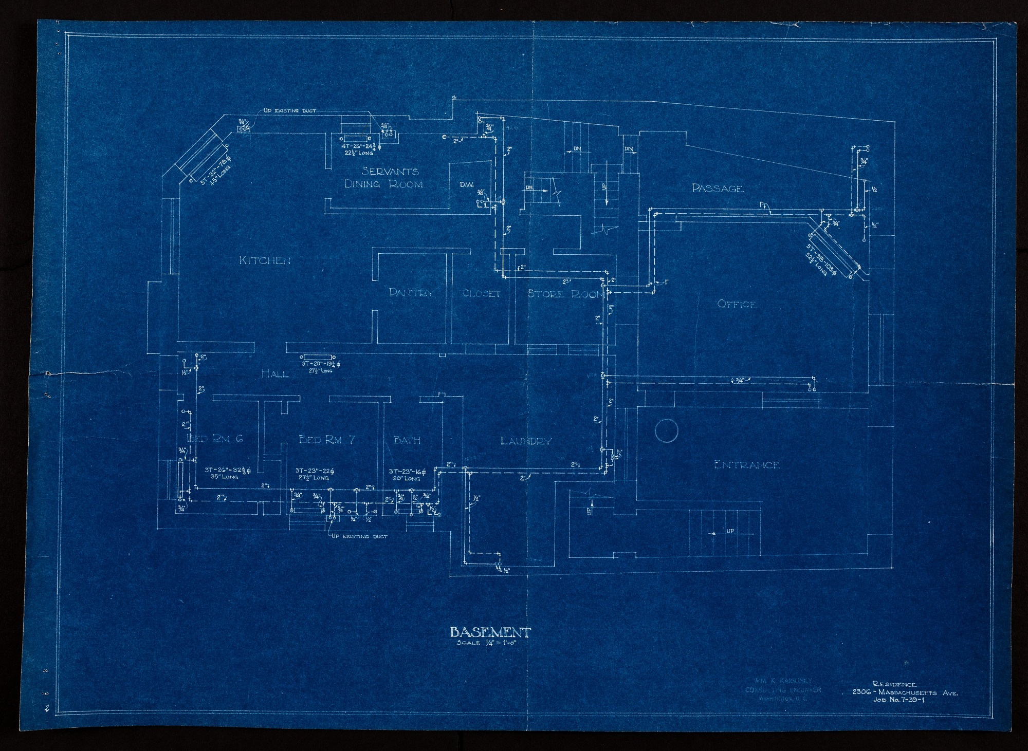 Blueprint drawing of the Basement of Alice Pike Barney's Studio House