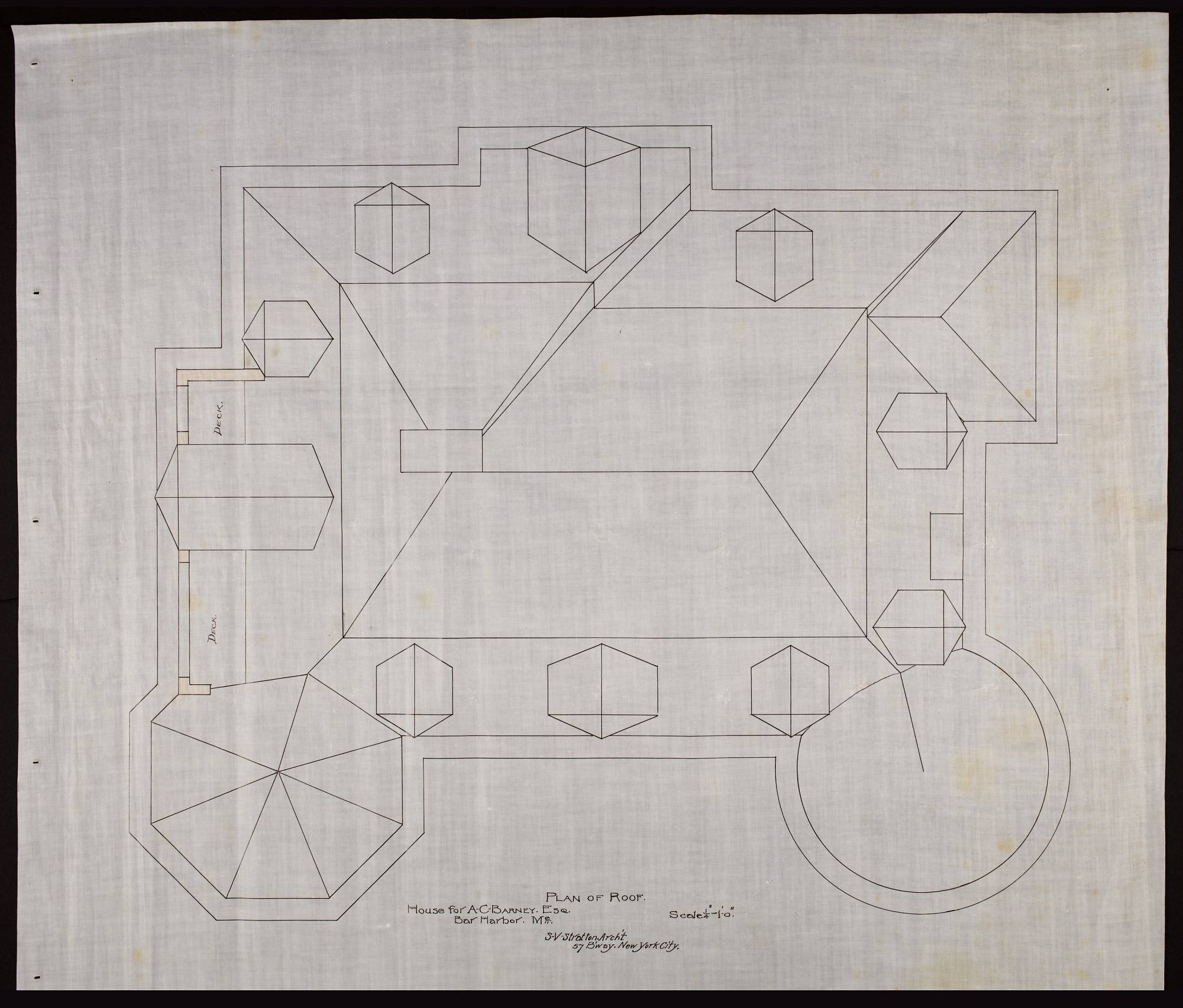 Plan of the Roof of Alice Pike Barney's house in Bar Harbor, Maine
