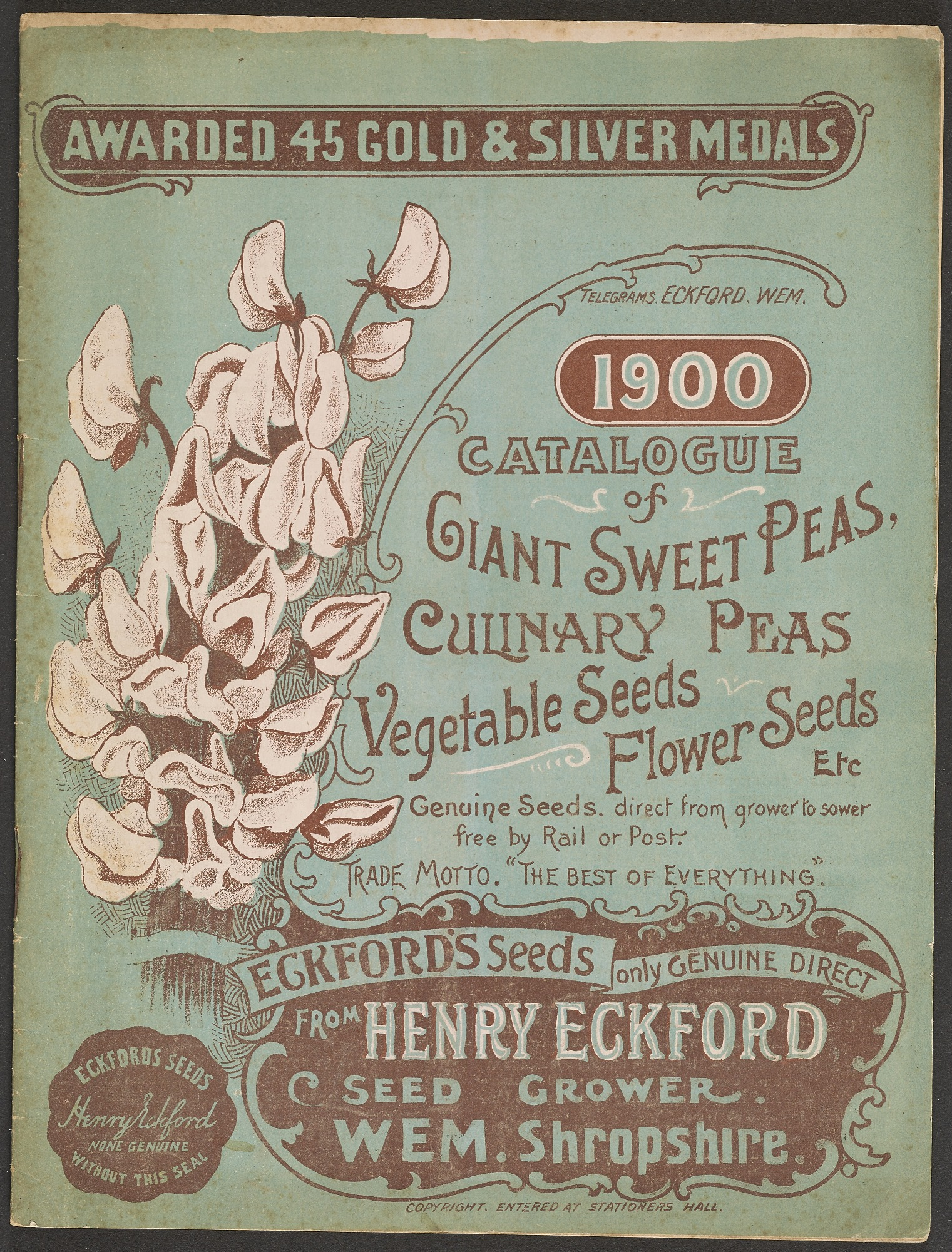 Eckford's Seeds, Catalogue of Giant Sweet Peas, 1900