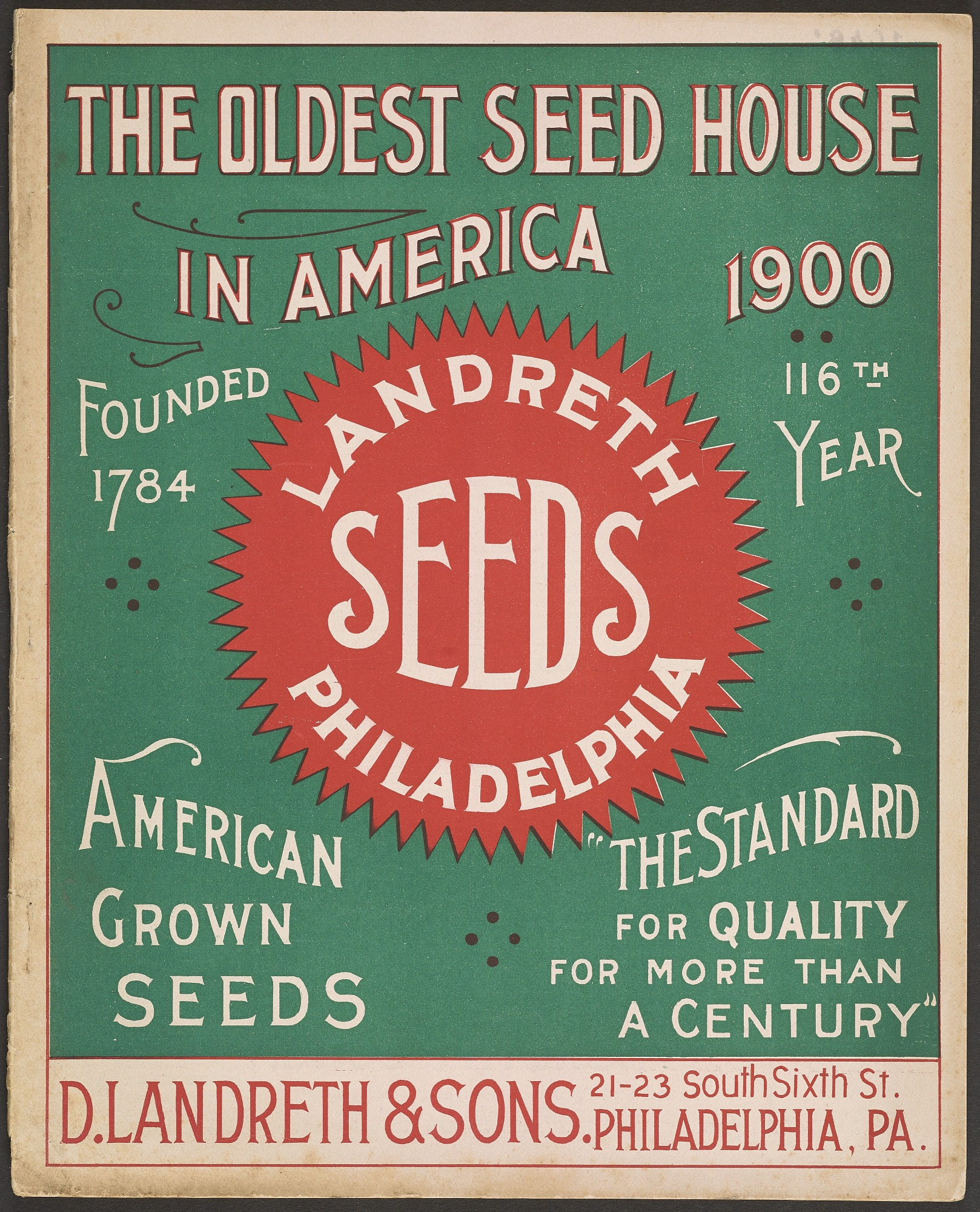 D. Landreth & Sons, Landreth Seeds, 1900