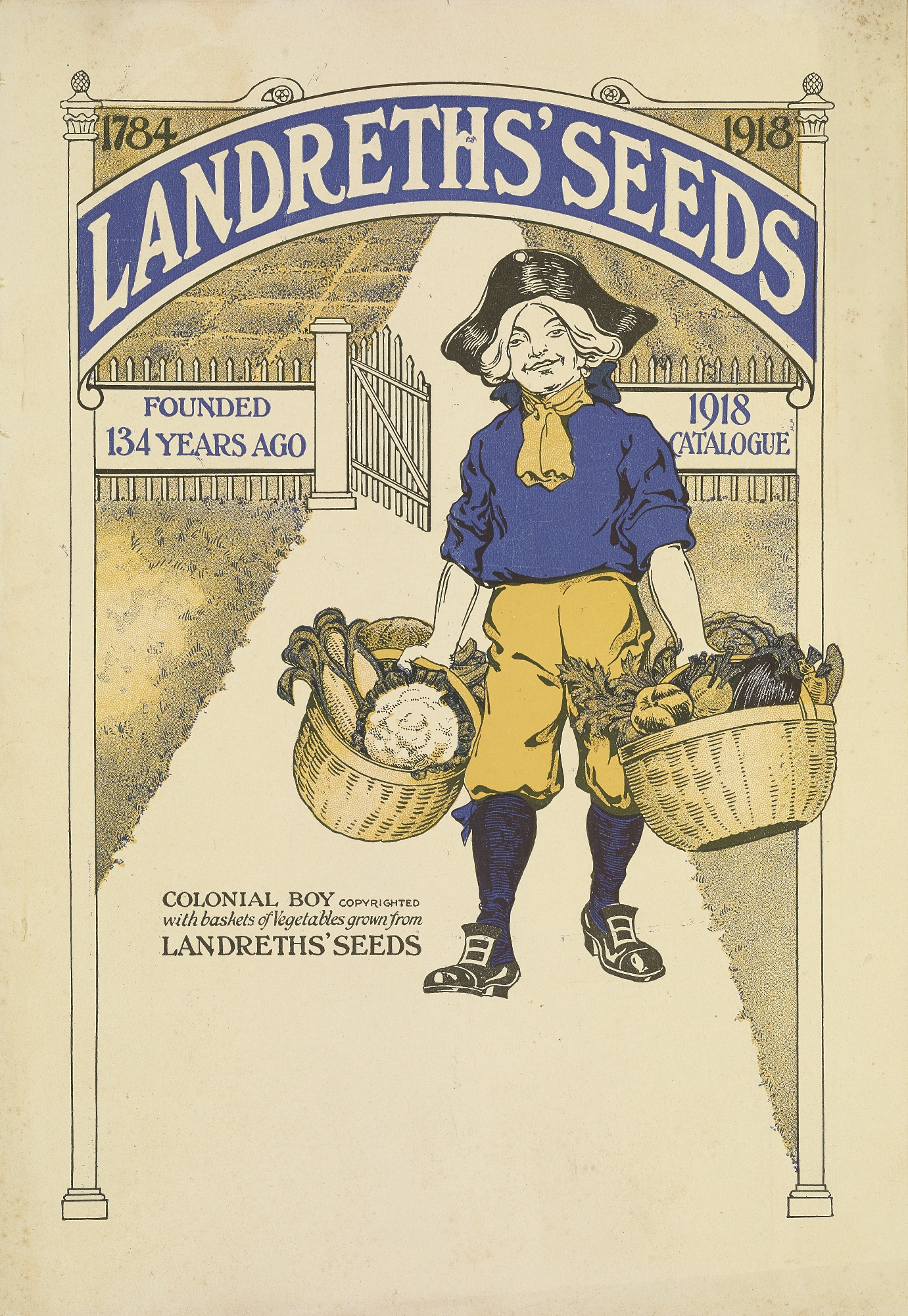 Colonial boy on cover of Landreths' Seeds catalogue, 1918
