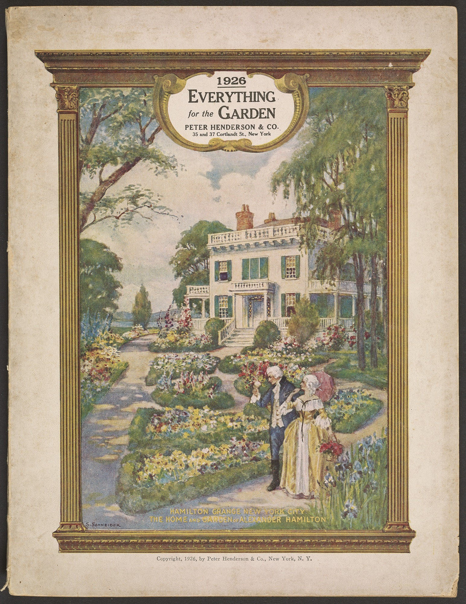 On the cover of this catalog, Hamilton Grange, the federal-style Harlem home of Founding Father Alexander Hamilton, has been embellished with lavish flower gardens
