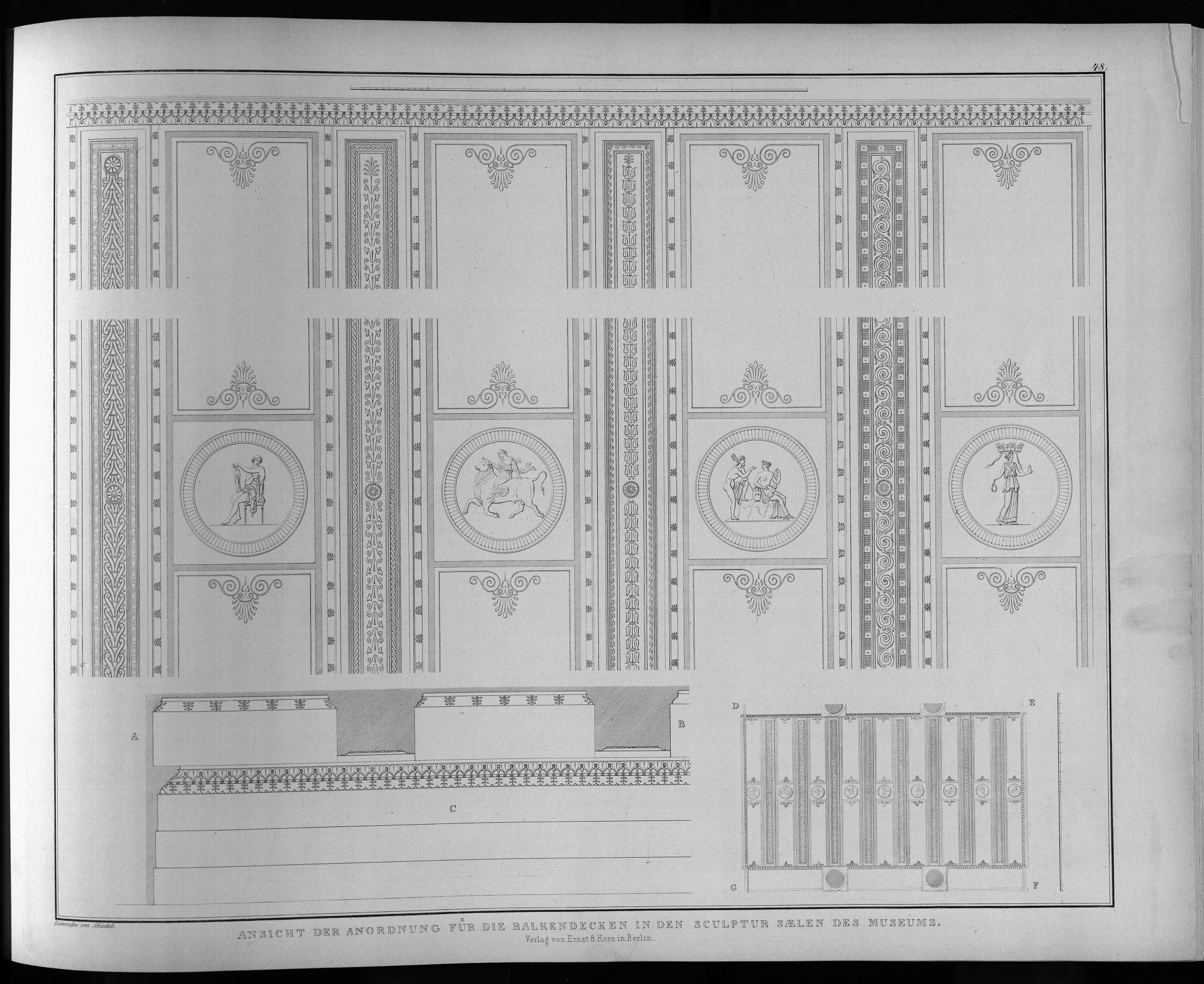 Ansicht der anordnung für die balkendecken in den sculpten saelen ...