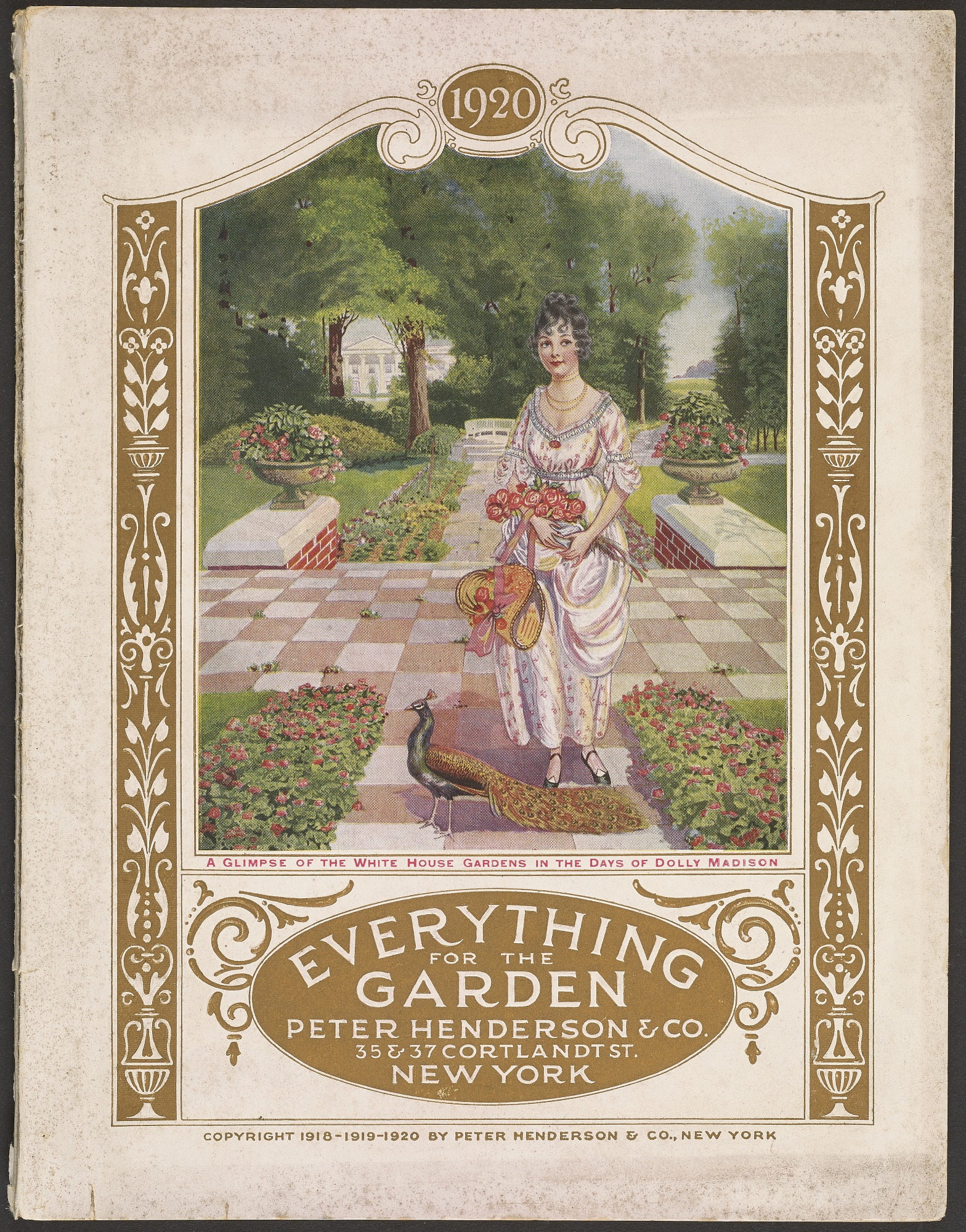 Here, First Lady Dolley Madison is imagined in her garden at the White House.