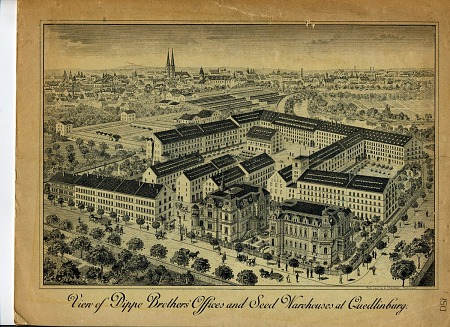 Engraving of an overhead view of a factory and warehouse