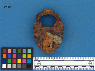 Iron padlock with copper-alloy key cover
