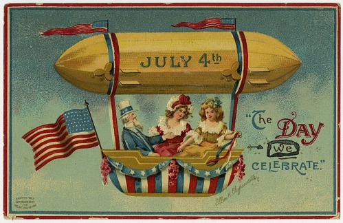 """""""July 4th - The Day We Celebrate."""" Uncle Sam and two girls up in an airship"""