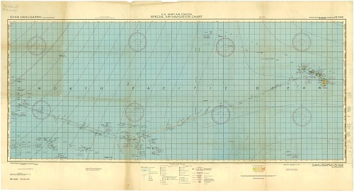 "Captain Theodore J. ""Dutch"" Van Kirk Boeing B-29 Enola Gay Route Map, Tinian to Hawaii via Kwajalein"