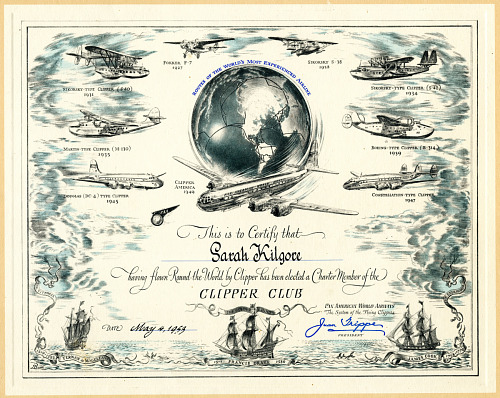 Pan American World Airways Clipper Club Certificate and Letter
