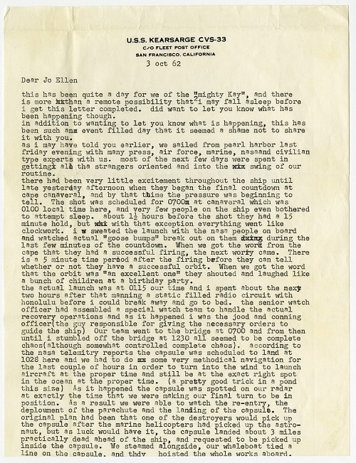 Mercury MA-8 Flight Sigma 7 and Mercury MA-9 Flight Faith 7 Recovery Letters Parker