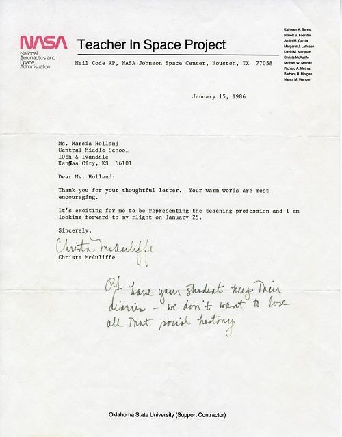 Sharon Christa McAuliffe Letter