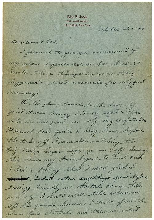 Edna Bowler Airline Letter