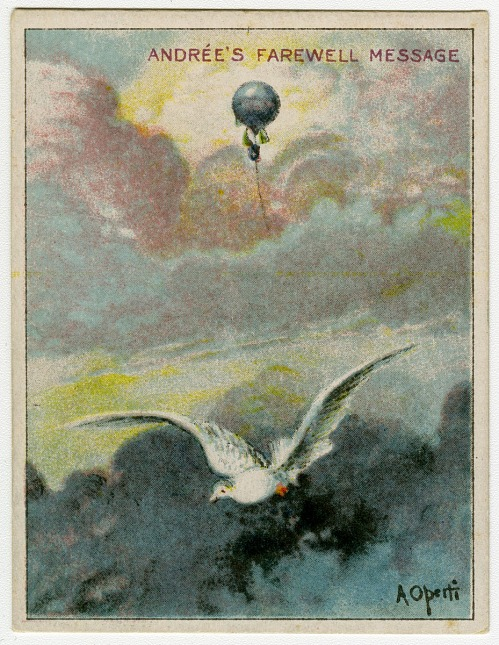 Three trade cards – Dillon's Dry Goods; Andrée's Farewell Message – Hassan Cigarettes; German Junkers Bomber – GUM, Inc.