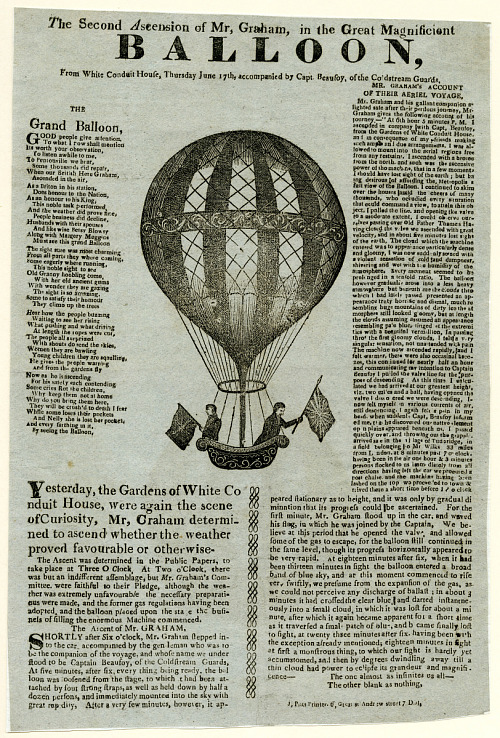 The Second Ascension of Mr, Graham, in the Great Magnificent Balloon – broadside with engraving of balloon. George Graham and Captain Henry Beaufoy's ascent