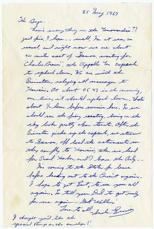 Apollo 10 Flight Recovery Letter Fearn