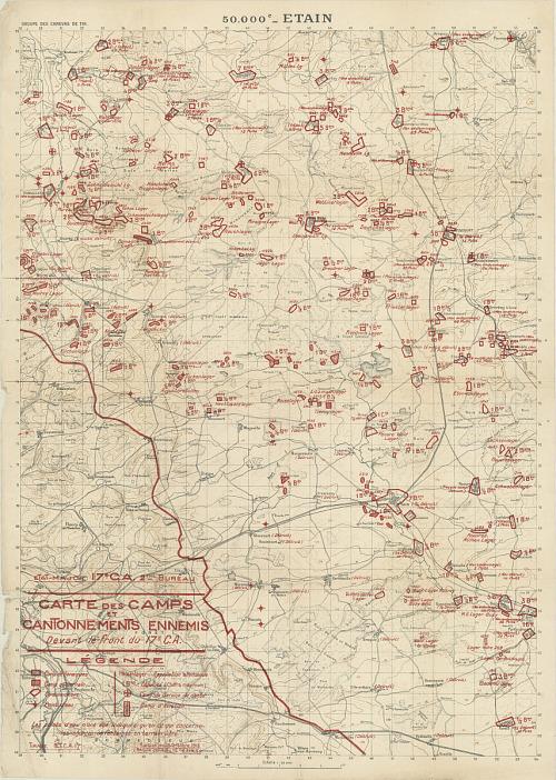 """Map, """"Carte des Camps et Cantonnements Ennemis"""""""