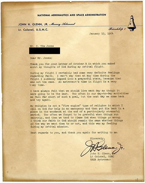 John Herschel Glenn, Jr. Orbital Flight Letter