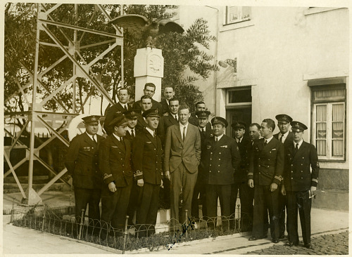 Photograph of Charles Augustus Lindbergh with Portuguese Naval Aeronautical Service
