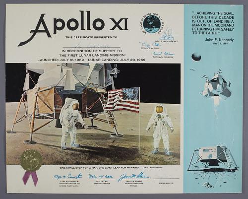 Apollo XI Certificate