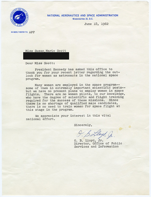 NASA Letter to Susan Scott