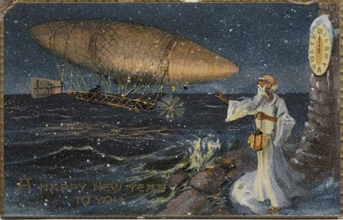 """""""A Happy New Year to You."""" Airship and Father Time"""