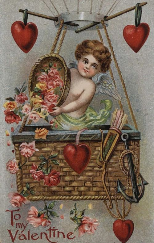 """""""To My Valentine."""" Cupid in balloon basket droping roses"""