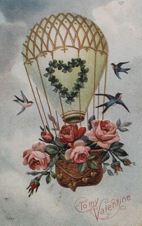 """""""To My Valentine."""" Balloon with roses and song-birds"""