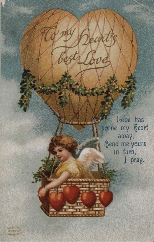 """""""To My Heart's Best Love..."""" Cupid in a balloon basket with heart-shaped ballast"""