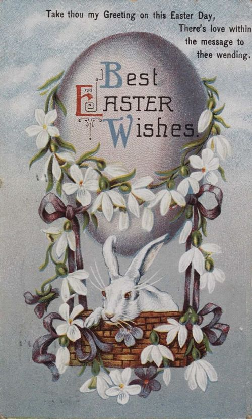 """""""Best Easter Wishes."""" Rabbit up in an egg-shaped balloon"""