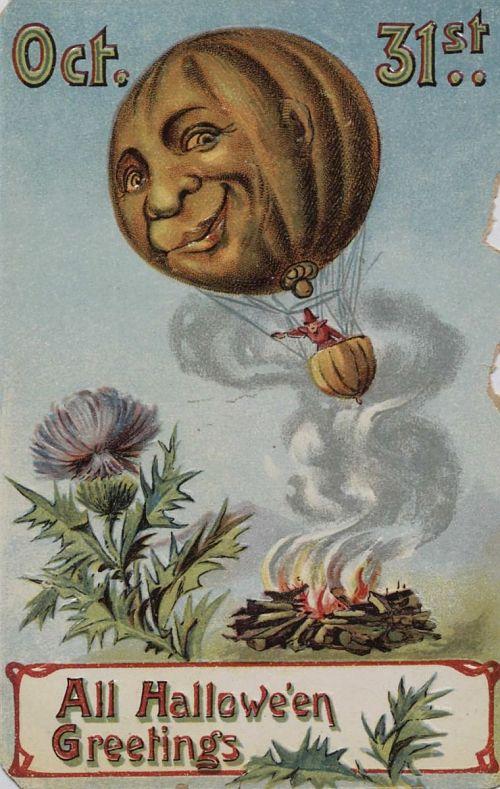"""Oct. 31st - All Halloween Greetings."" Jack-o-lantern hot air balloon"