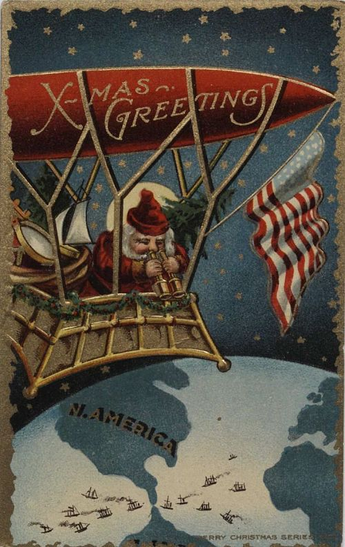 """""""X-Mas Greetings."""" Santa Claus in airship over North America note the number of ships at the Panama Canal"""