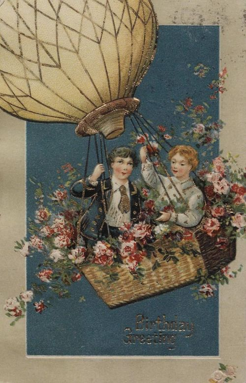 """""""Birthday Greeting."""" Two boys up in a balloon"""