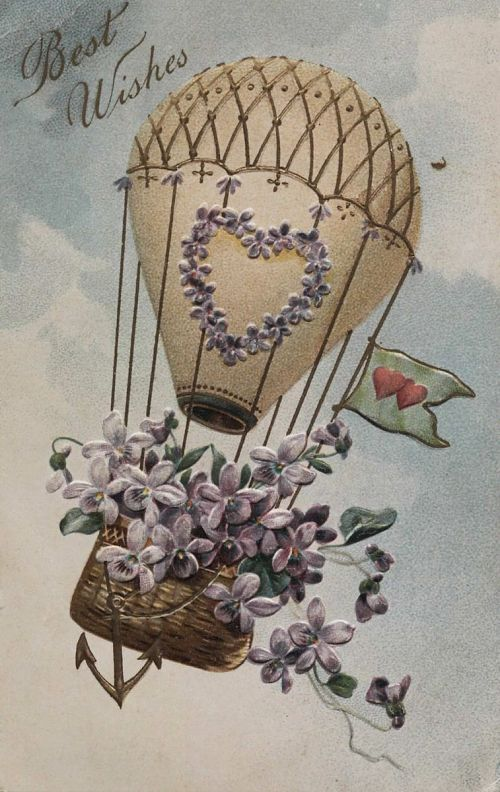 """""""Best Wishes."""" Fanciful balloon with flowers in basket"""
