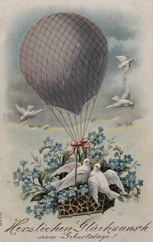 """""""Herzliehen Gluckwunsch zum geburtstage!"""" Balloon with flowers and birds in basket"""