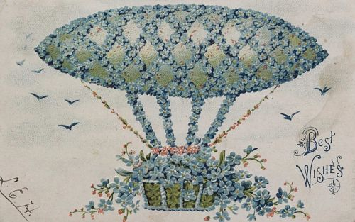 """""""Best Wishes."""" Flower-covered airship"""