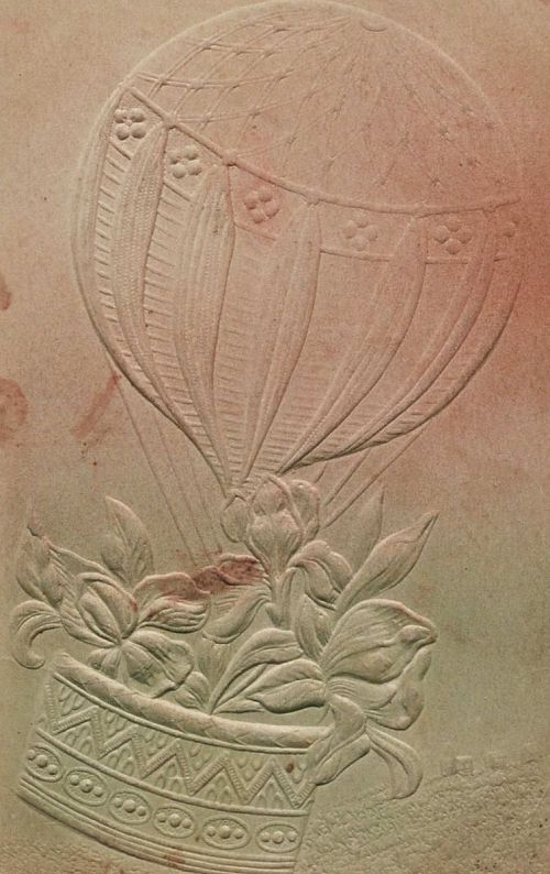Untitled. Balloon with flowers in basket